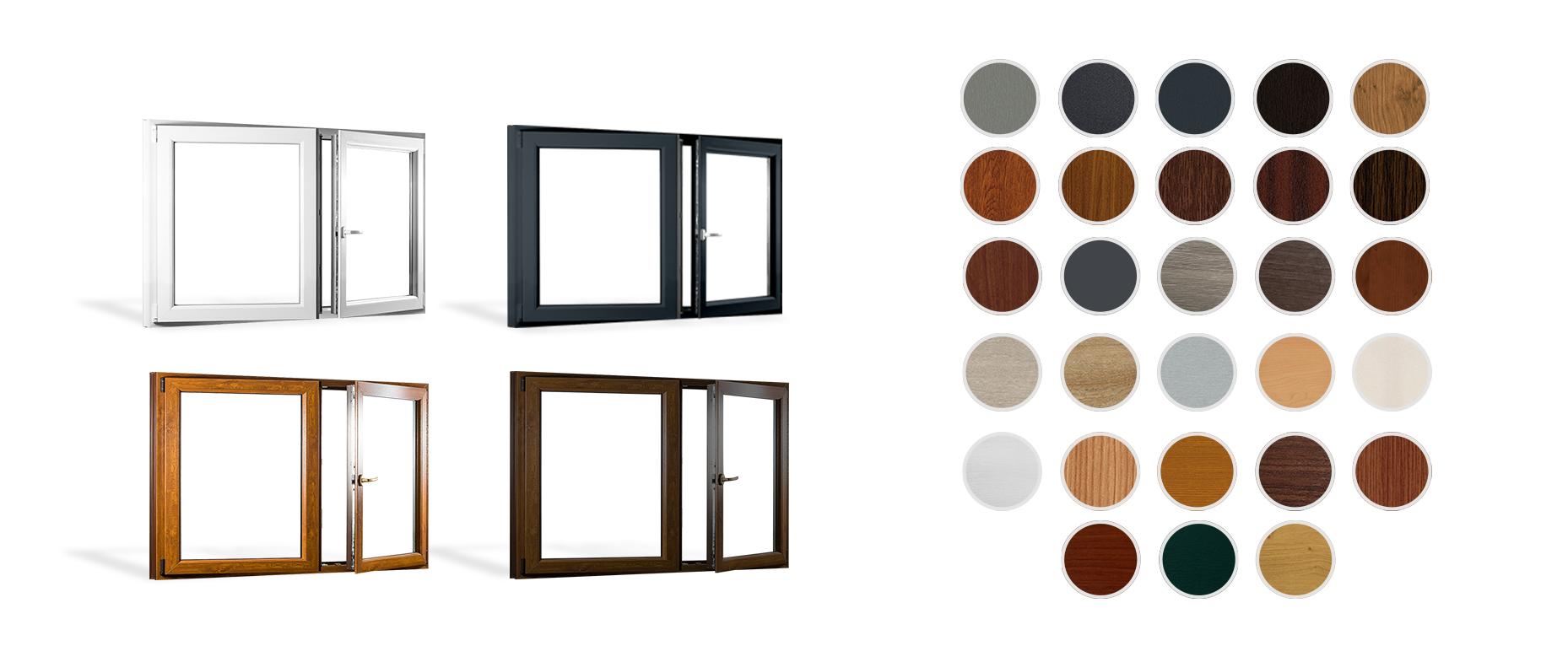 Plastová okna PREMIUM a REHAU SYNEGO AD jsou v nabídce ve 28 barvách plus základní bílé barvě. Foto: Skladová-okna.cz