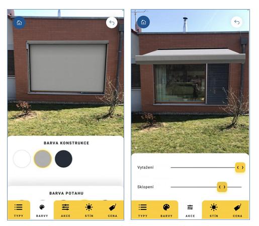 Aplikace pro výběr stínění domu od Climaxu.